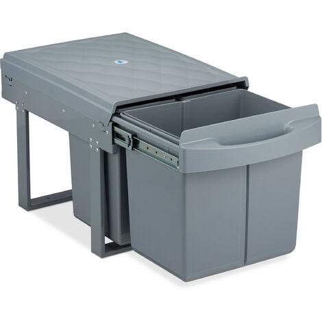 poubelle encastrable coulissante, 3 bacs, système de trie pour le sous-évier, 15l & 2x 8l, 34,5x34x53 cm, gris