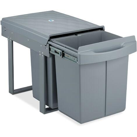 poubelle encastrable coulissante, 3 bacs, système de trie pour le sous-évier, 20l & 2x10l, 41x33,5x52 cm, gris