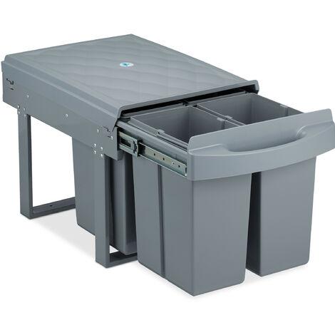 poubelle encastrable coulissante, 4 bacs, système de trie pour le sous-évier, 4x 8 l, HLP 35x33,5x51 cm, gris
