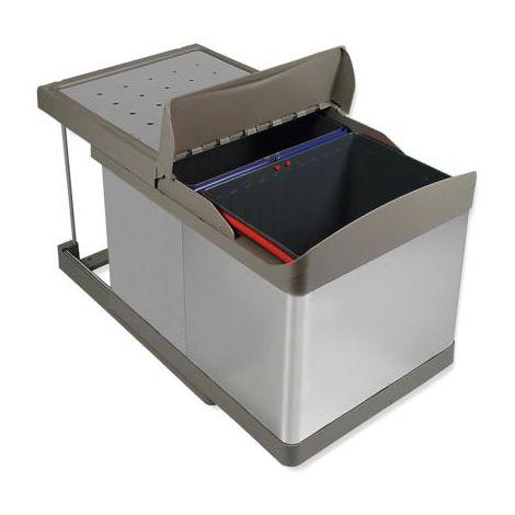 Poubelle extractible automatique inox 2x14l.