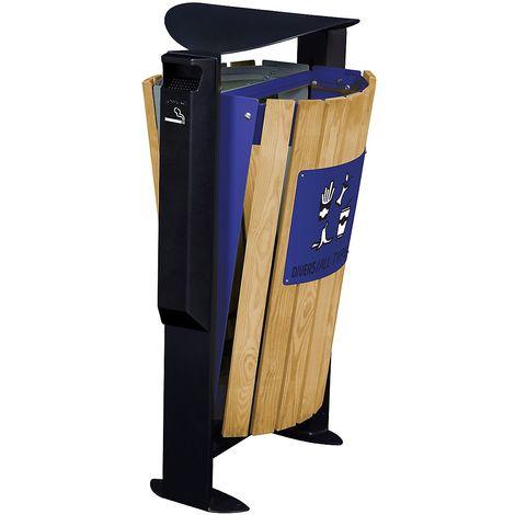Poubelle façade bois - 2 x 60 l - avec cendrier 3 l - tri divers /papier - Bois / Acier bleu - EDEN | Rossignol