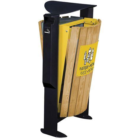Poubelle façade bois - 2 x 60 l - avec cendrier 3 l - tri divers/plastique et métal - Bois / Acier jaune - ARKEA |