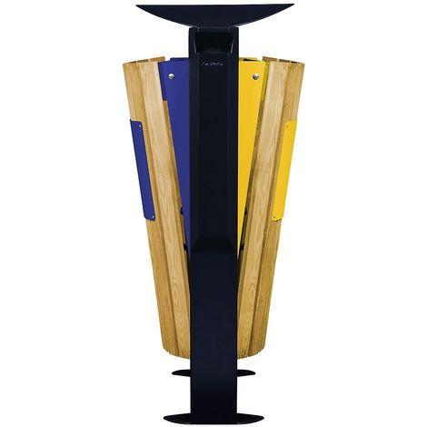 Poubelle façade bois - 2 x 60 l - avec cendrier 3 l - tri papier/plastique et métal - Bois / Acier Jaune - EDEN | - colza ral 1021, bleu outremer