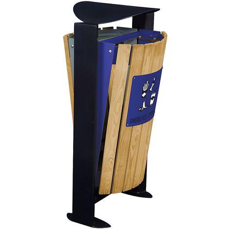 Poubelle façade bois - sans cendrier - 2 x 60 l - tri divers/papier - Bois/ Acier bleu - ARKEA | Rossignol - Bleu