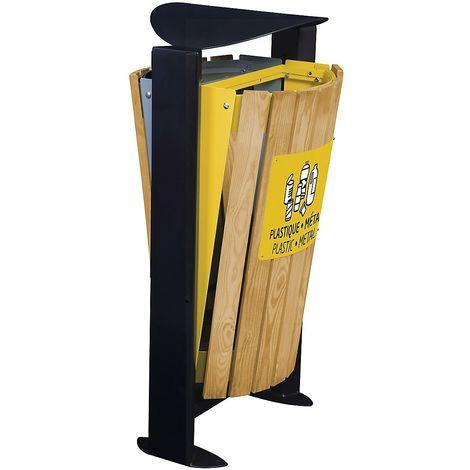 Poubelle façade bois - sans cendrier - 2 x 60 l - tri divers/plastique et métal - Bois / Acier Jaune - ARKEA | Rossignol - gris | jaune viol ral 1021