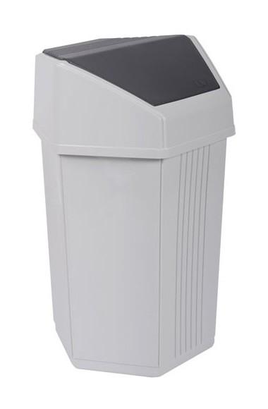 Poubelle fourre-tout - 50 L - blanc cérusé et gris anthracite - EDA