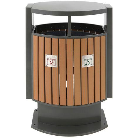 Poubelle imitation bois, h x l x p 1000 x 400 x 700 mm, capacité 2 x 39 l - Coloris poubelle: Aspect bois