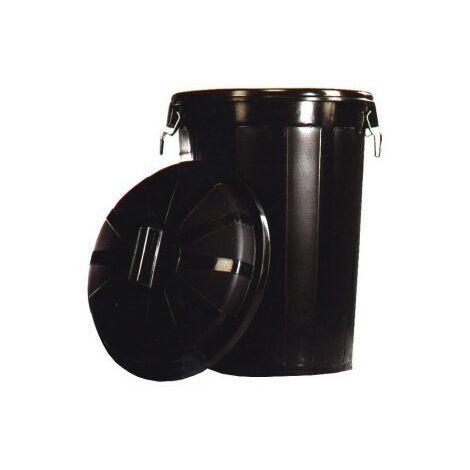 Poubelle industrielle avec couvercle Plastique Noir 50 L