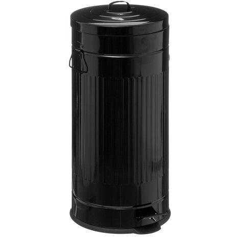 Poubelle métal 30L Cadence noir - Noir