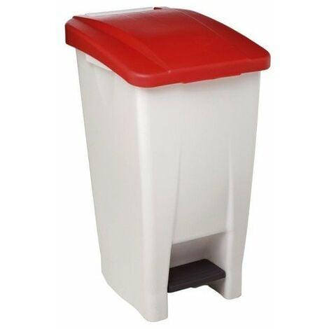 Poubelle mobile a pedale plastique 60 l blanc couvercle rouge