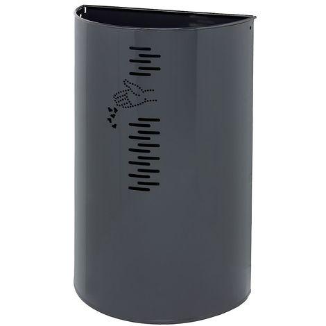 Poubelle murale | acier galvanisé à chaud peint époxy | Revêtement époxy | Mangangris | 40 litres | 395x195x647 | Miluna - Gris