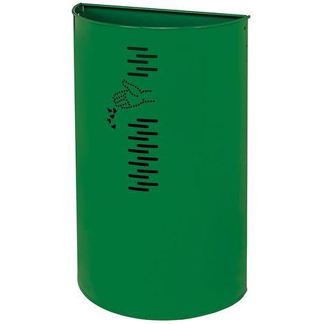 Poubelle murale | acier galvanisé à chaud peint époxy | Revêtement époxy | verdoyant | 40 litres | 395x195x647 | Miluna - Vert