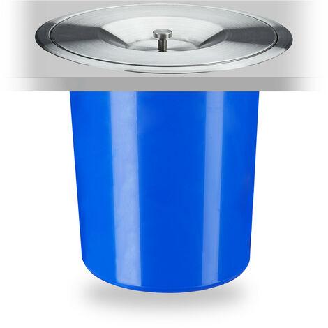Poubelle plan de travail, 5 l, encastrable, déchets organiques, avec couvercle en inox, HxD 23 x 24 cm, bleu
