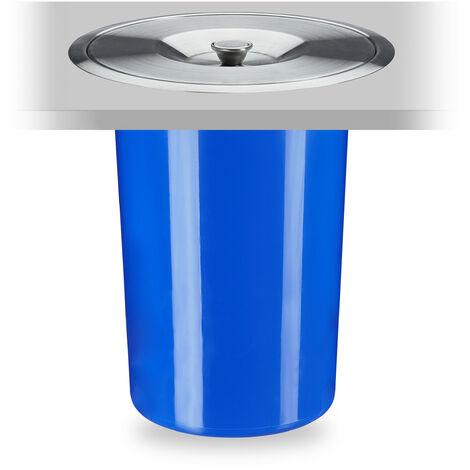 Poubelle plan de travail, 8 l, encastrable, déchets organiques, avec couvercle en inox, HxD 30 x 26,5 cm, bleu
