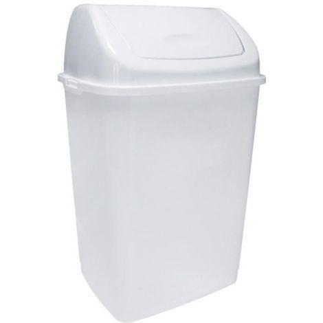 Poubelle plastique blanche à couvercle basculant 50 litres