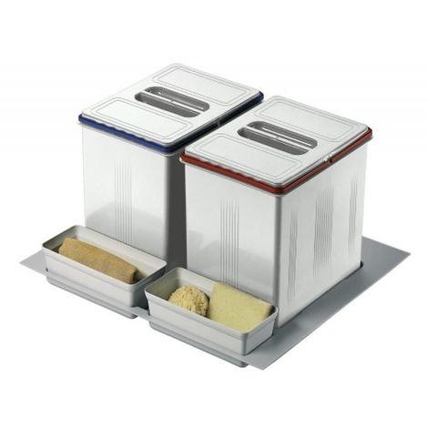 Poubelle pour tiroir 2 bacs - 2 x 15 litres