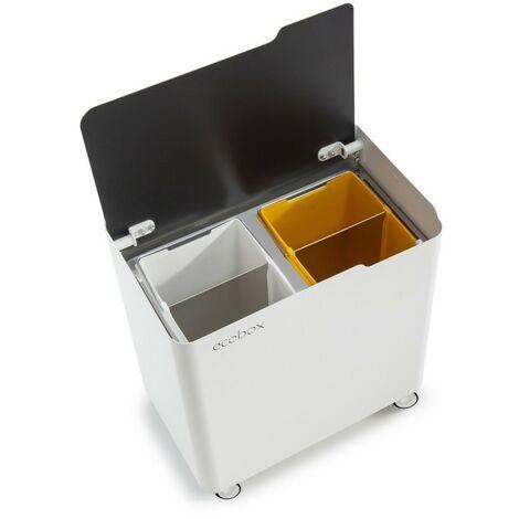 Poubelle pour tri sélectif modulable, système de fermeture douce, ECOBOX-TOP - Gris