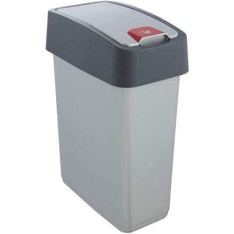 Poubelle Premium avec couvercle à charnière, Soft Touch, 10L, couleur Argent