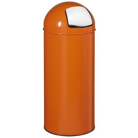 Poubelle push avec couvercle trappe orange