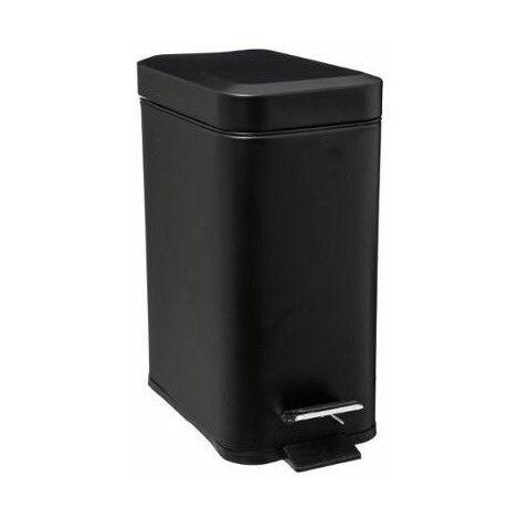 Poubelle rectangle - 5 L - Inox - Noir