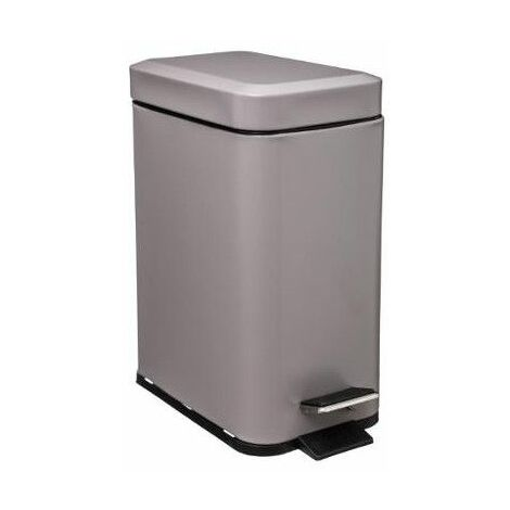 Poubelle rectangle - 5 L - Inox - Taupe