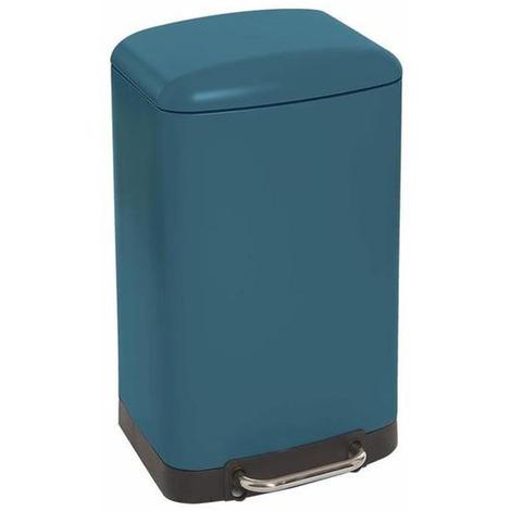 Poubelle rectangulaire à pédale coloris bleu Mat - 30 Litres