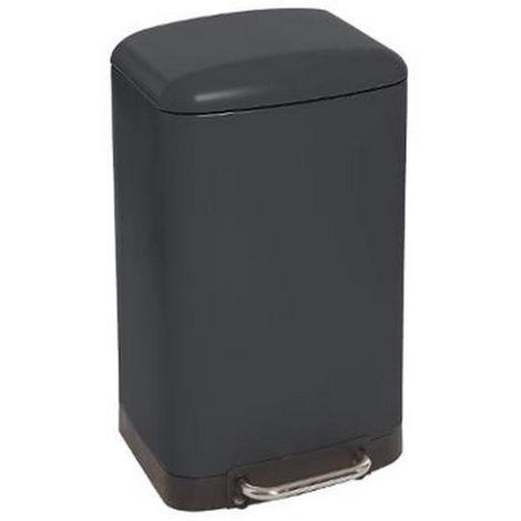 Poubelle rectangulaire à pédale coloris noir - 30 Litres