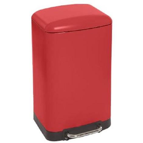 Poubelle rectangulaire à pédale coloris rouge - 30 Litres