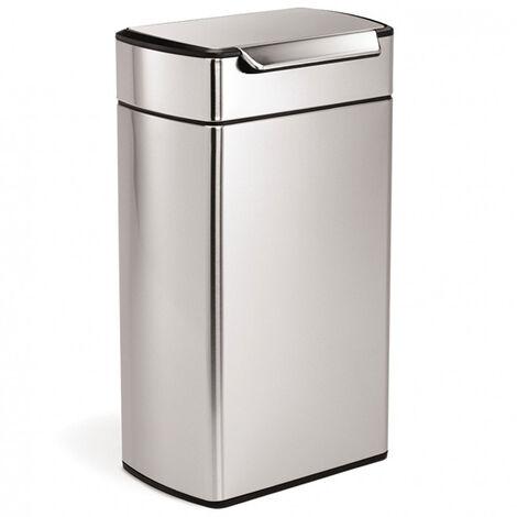 poubelle rectangulaire à touch-bar 40l inox - cw2014 - simplehuman