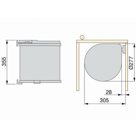 Poubelle ronde plastique Blanc EMUCA - 13L - Ø277 mm ht 355 mm - 8035815