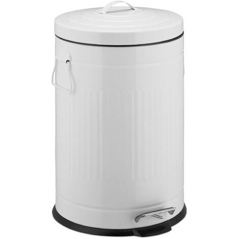 Poubelle «Retro» 20L poubelle cuisine ronde déchet couvercle intérieur plastique pédale vintage design, blanc