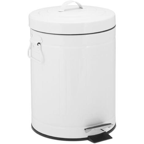 Poubelle «Retro» 5L poubelle cuisine déchet couvercle intérieur plastique pédale vintage design, blanc