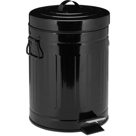 Poubelle «Retro» 5L poubelle cuisine déchet couvercle intérieur plastique pédale vintage design, noir