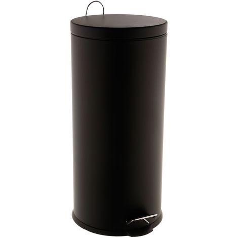 Poubelle Ronde - 30 L - Noir mat - Noir