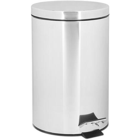 Poubelle ronde à pédale 12 litres H x D: 39 x 25 cm inox Seau amovible vide-ordures avec couvercle acier inoxydable optique métal pour la cuisine et la salle de bain, gris argenté