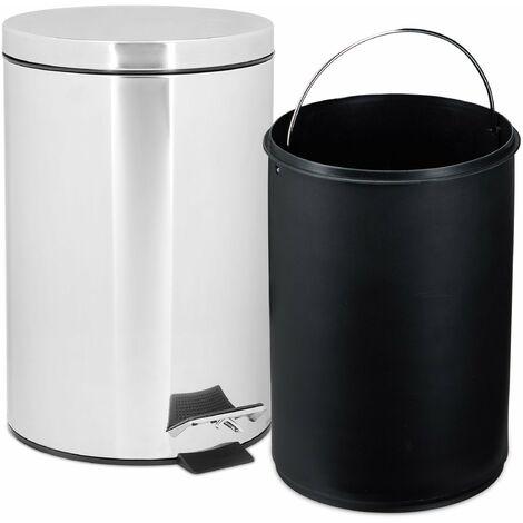 Poubelle ronde à pédale 7 litres inox - Noir