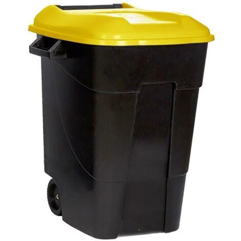 Poubelle roulante avec couvercle 100 Lt. Couvercle en plastique noir Couvercle jaune Tayg 420016