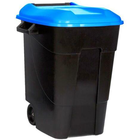 Poubelle � roulettes avec couvercle 100 litres, couvercle en plastique noir, bleu Tayg 420023