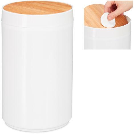 poubelle salle de bain 5l, couvercle oscillant en bambou, moderne, plastique, 5,5 L, H x D 26,5 x 18 cm, blanc