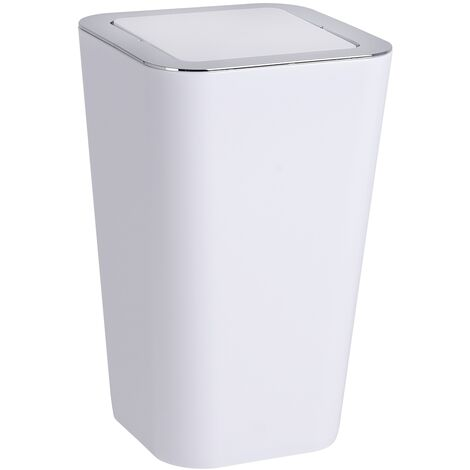 Poubelle Salle de Bain à couvercle oscillant 6L, Candy blanc WENKO