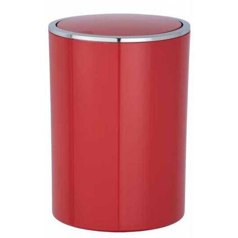 Poubelle Salle de Bain couvercle basculant 5L, Inca rouge WENKO