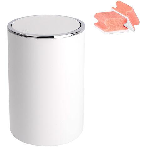 Poubelle Salle de Bain Inca blanc, Petite poubelle salle de bain 5L