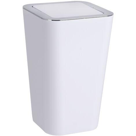 Poubelle Salle de Bain, petite poubelle couvercle basculant, 6L, Candy blanc WENKO