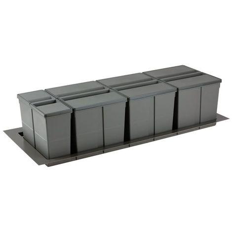 Poubelle sélective pour caisson de 1200mm - Nombre de seaux : 4 - Contenance : 89 L - Pour caisson de largeur : 1200 mm - Décor : Anthracite - Hauteur : 277 mm - Largeur mini : 1031 mm - Largeur maxi - Décor : Anthracite