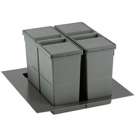 Poubelle sélective pour caisson de 450mm - Nombre de seaux : 2 - Contenance : 22 L - Pour caisson de largeur : 450 mm - Décor : Anthracite - Hauteur : 277 mm - Largeur mini : 279 mm - Largeur maxi :