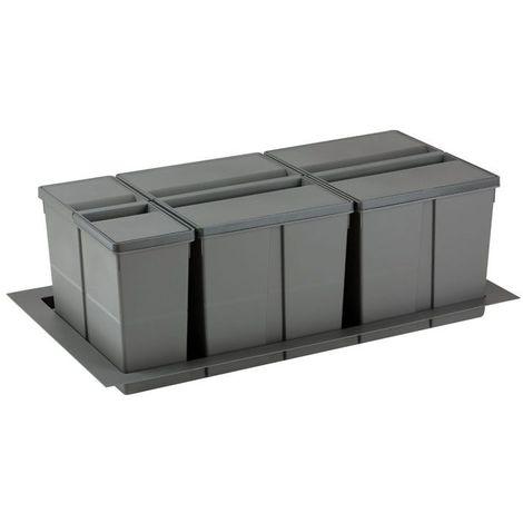 Poubelle sélective pour caisson de 900mm - Nombre de seaux : 3 - Contenance : 63 L - Pour caisson de largeur : 900 mm - Décor : Anthracite - Hauteur : 277 mm - Largeur mini : 730 mm - Largeur maxi :