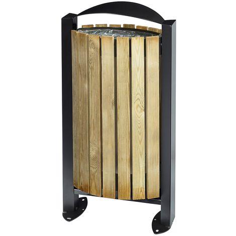Poubelle sur pied - façade bois - 60 l - Bois / Acier gris manganèse - ARKEA | Rossignol - Gris foncé