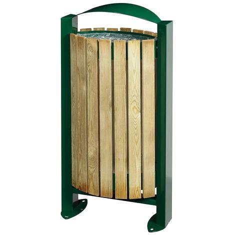 Poubelle sur pied - façade bois - 60 l - Bois / Acier vert mousse - BOOGY | Rossignol - Vert mousse RAL 6005