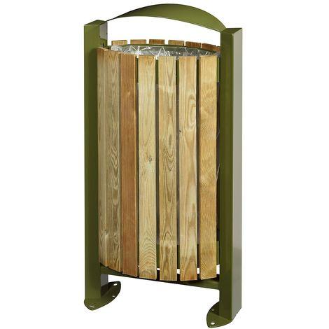 Poubelle sur pied - façade bois - 60 l - Bois / Acier vert olive - BOOGY | Rossignol