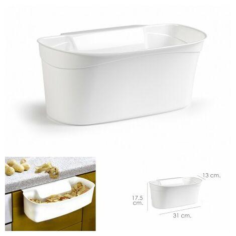 Poubelle suspendue pour comptoir / panier collecteur déchets 31x13x17.5 (alt.) cm. couleur blanc